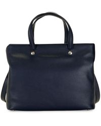Longchamp Textured Leather Satchel - Blue