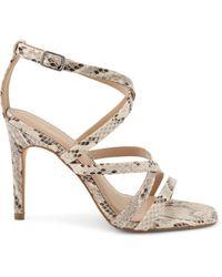 BCBGeneration Women's Inneb Snakeskin-print Strappy Sandals - Ivory Snake - Size 9.5 - Metallic