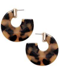 Ava & Aiden - Goldtone Leopard Thick Hoop Earrings - Lyst