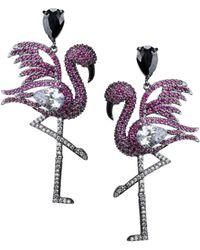 CZ by Kenneth Jay Lane Flamingo Black Rhodium-plated & Crystal Earrings