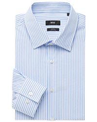 BOSS by HUGO BOSS Jango Slim-fit Striped Dress Shirt - Blue