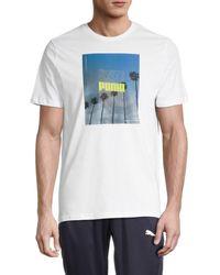 PUMA Men's Photo Graphic Short Sleeve T-shirt - White - Size L