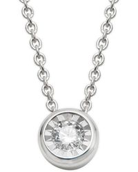 Saks Fifth Avenue 14k White Gold & Diamond Circle Pendant Necklace - Multicolour