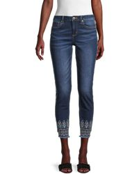 Miss Me Mid-rise Embroidered Ankle Skinny Jeans - Blue