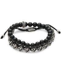 King Baby Studio Sterling Silver & Onyx Beads Bracelet - Multicolour