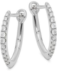 Saks Fifth Avenue 14k White Gold & Diamond Hoop Earrings - Multicolour