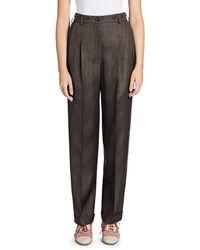 Giorgio Armani Virgin Wool-blend Pleated Pants - Multicolour