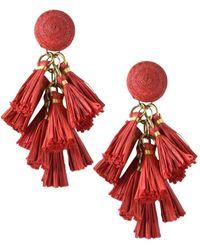 Akola Goldtone & Raffia Tassel Drop Earrings - Red