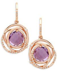 Effy 14k Rose Gold Amethyst & Diamond Drop Earrings - Metallic