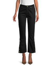 Sandro Women's Button-hem Cropped Jeans - Black - Size 36 (2-4)