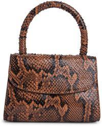 BY FAR Women's Mini Snake-print Leather Top Handle Bag - Brown