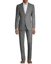 John Varvatos Men's Slim-fit Glen Plaid Wool Suit - Grey - Size 42 L