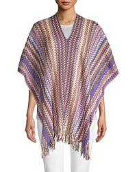 Missoni Knit Fringed Poncho - Purple