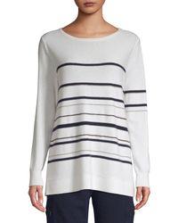 TSE Cashmere Chain Stripe Long Sleeve Jumper - White