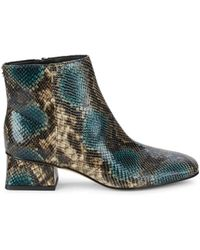 Circus by Sam Edelman Women's Daysi Snakeskin-print Faux Leather Booties - Blue Natural - Size 5.5