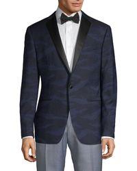 John Varvatos Modern-fit Patterned Wool Dinner Jacket - Blue