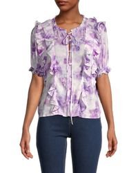 For Love & Lemons Zinna Floral Ruffle Blouse - Purple