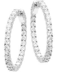 """Saks Fifth Avenue - Crystal Hoop Earrings/1.21"""" - Lyst"""