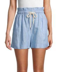 Saks Fifth Avenue Women's Tonal Striped Paperbag Shorts - Tonal Blue - Size S