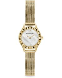 BCBGMAXAZRIA Classic Mother-of-pearl Goldtone Stainless Steel Mesh Bracelet Watch - Metallic