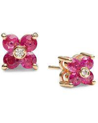 Effy Women's 14k Yellow Gold, Ruby & Diamond Flower Stud Earrings - Red