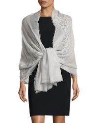 Saks Fifth Avenue Cashmere & Silk Lace Shawl - Grey