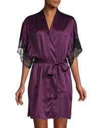 Natori Lace-trimmed Robe - Purple