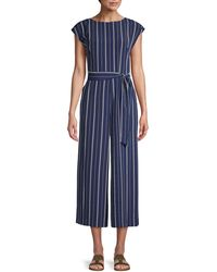 Karl Lagerfeld Striped Cap-sleeve Jumpsuit - Blue