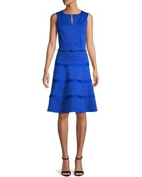 Oscar de la Renta Wool-blend Ruffled A-line Dress - Blue