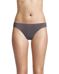 Ava & Aiden Bonded Edge High-cut Bikini Briefs - Gray