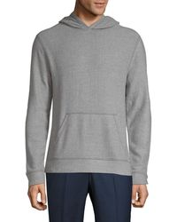 Saks Fifth Avenue Fuzzy Pullover Hoodie - Grey