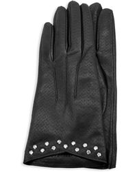 Portolano Studded & Perforated Leather Gloves - Black