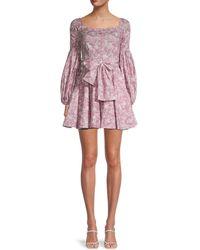 Caroline Constas Floral-print Mini Dress - Purple