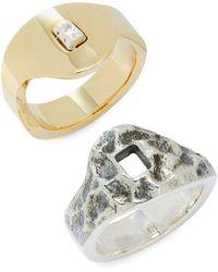 King Baby Studio Men's Yin Yang Sterling Silver & Brass Ring Set - Metallic