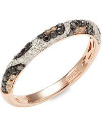Effy 14k Rose Gold, White, Black & Brown Diamond Ring - Multicolor