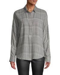 Vince Bar Plaid Popover Shirt - Gray