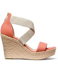 MICHAEL Michael Kors Women's Prue Espadrille Wedge Sandals - Pink Grapefruit - Size 10