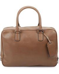 Giorgio Armani Classic Leather Briefcase - Brown