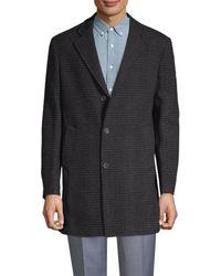 Saks Fifth Avenue Men's Tonal Plaid Double-faced Coat - Black - Size M