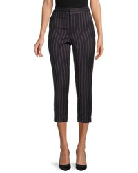 Tommy Hilfiger Striped Cropped Trousers - Blue