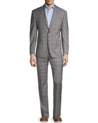 Michael Kors Men's Reda Standard-fit Plaid Wool Suit - Gray - Size 42 R