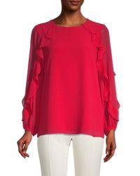Calvin Klein Ruffled Long-sleeve Top - Red