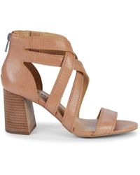 Lucky Brand Vyrah Strappy Leather Heeled Sandals - Brown