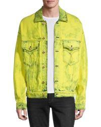 Versace Men's Tie-dyed Denim Jacket - Yellow - Size 48 (38)