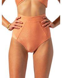 Suboo Women's Farrah High Waisted Bikini Bottom - Coral - Size S - Orange