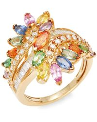 Effy 14k Yellow Gold, Multicolored Sapphire & White Diamond Ring - Metallic