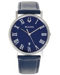 Bulova Men's Stainless Steel & Leather-strap Watch - Blue