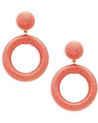 Panacea Textured Hoop Drop Earrings - Multicolor
