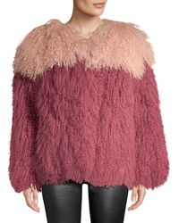 H Brand Andie Two-tone Shearling Jacket - Pink