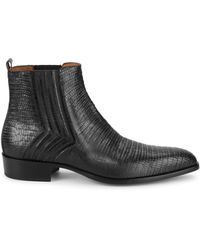 Jo Ghost Iguana-embossed Leather Ankle Boots - Black